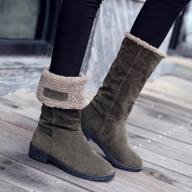 2 Ways Slip-On Mid-Calf Winter Women's High-heeled Snow Boots - Brows Forever