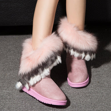Pink Faux Fur Women Winter Snow Boot - Brows Forever