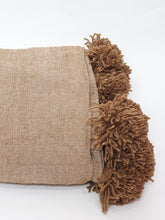 Load image into Gallery viewer, Pom pom blanket brown 2 x 3 m