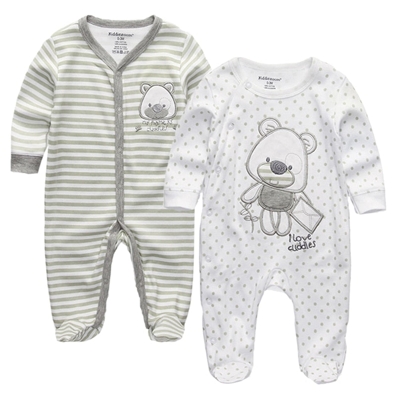 2 pieces/lots Newborn Footie Baby girl boy clothes long sleeve Cotton print New born Roupas de bebe pajamas 0-12 months - Meyar