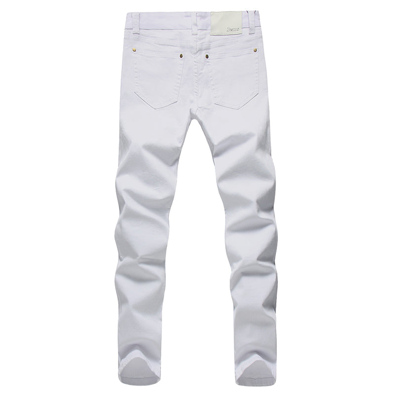2017 Men Stretch Jeans Fashion white Denim Trousers For Male Spring And Autumn Retro Pants Casual Men's Jeans size 27-36 - Meyar