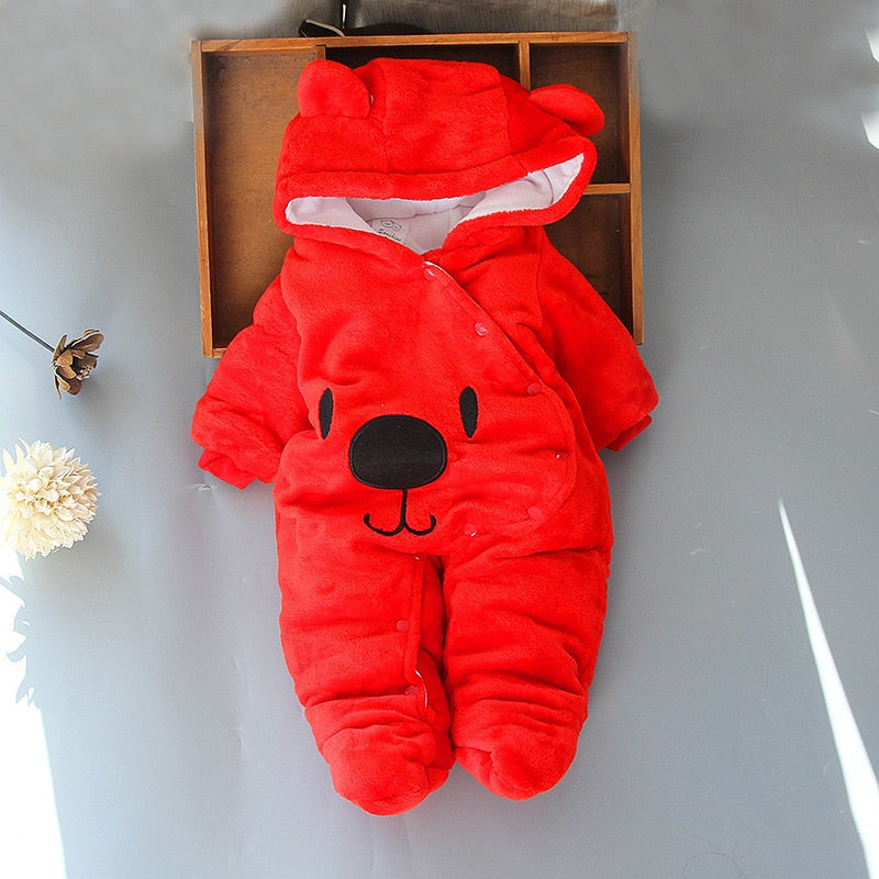 2018 new born Fleece Baby Cute animal Overalls Winter Boy girl Cotton Newborn toddler Clothes Infant warm Footies one piece - Meyar