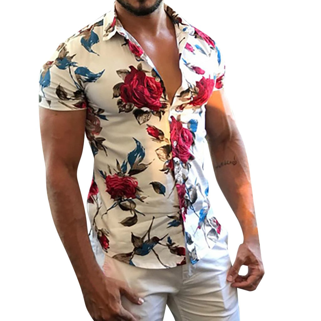 2019 New style men's shirt ISHOWTIENDA  Men Casual Summer Printed Button Short Sleeve Hawaiian Shirt Top Blouse hot sales  2019 - Meyar