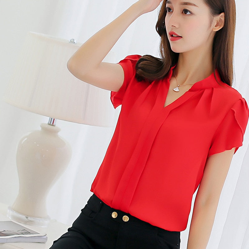 2019 Summer Women Chiffon Blouse Short Sleeve Red Ladies Office Ladies Shirts Plus Size Work Top Plus Size Casul Female Clothing - Meyar