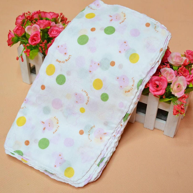 8Pcs/lot 23cm Baby Bath Towels Cotton Gauze Flower Print New Born Baby Towels Soft Water Absorption Baby Care Towel - Meyar