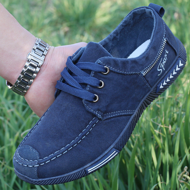 AGUTZM Canvas Men Shoes Denim Lace-Up Men Casual Shoes New 2017 Plimsolls Breathable Male Footwear Spring Autumn - Meyar
