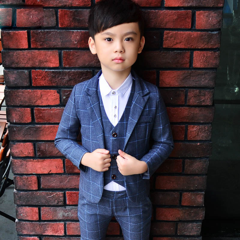 ActhInK 2018 New 3PCS Kids Plaid Wedding Blazer Suit Brand Flower Boys Formal Tuxedos School Suit Kids Spring Clothing Set, C298 - Meyar