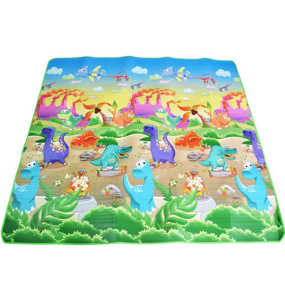Baby Play Mat 200*180*0.5cm Crawling Mat Double Surface Baby Carpet Rug Animal Car+Dinosaur Developing Mat for Children Game Pad - Meyar