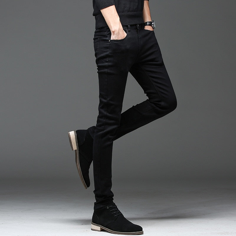 Batmo 2018 new arrival high quality casual slim elastic black jeans men ,men's pencil pants ,skinny jeans men 2108 - Meyar