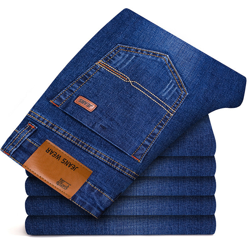Brother Wang Brand 2019 New Men's Fashion Jeans Business Casual Stretch Slim Jeans Classic Trousers Denim Pants Male 101 - Meyar
