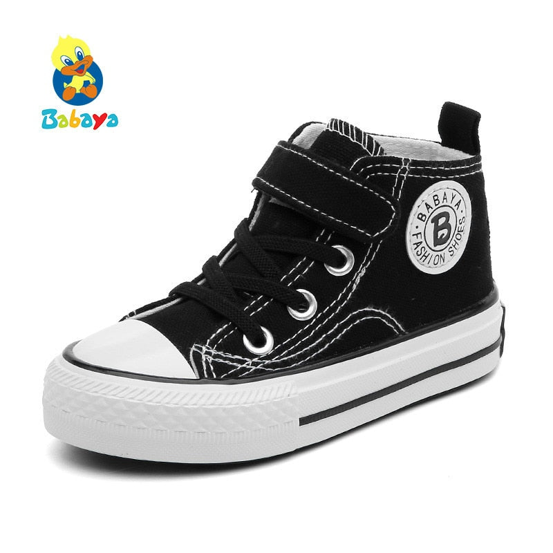 Children Canvas Shoes Girls Sneakers High Boys Shoes Breathble 2018 Spring Autumn New Fashion Small Kids Casual Shoes Toddler - Meyar