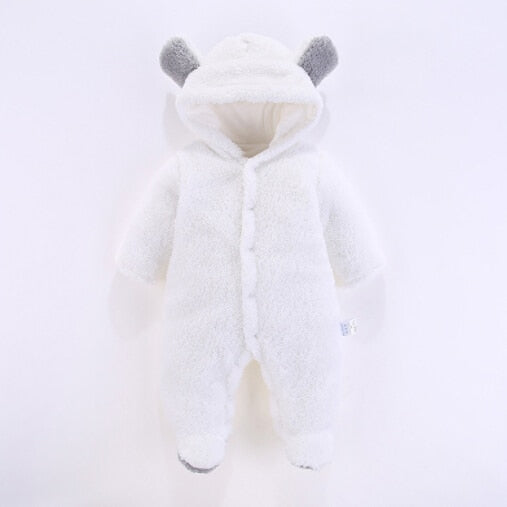 Drop Shipping 2018 New Solid Cute Hooded Footie New Born Baby Clothes Winter Boy Girl Garment Comfortable Baby's Suit DA10009 - Meyar