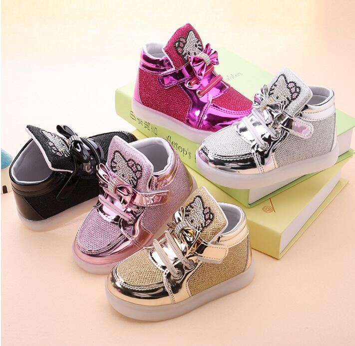 KKABBYII Children Shoes New Spring Hello Kitty Rhinestone Led Shoes Girls Princess Cute Shoes With Light EU 21-30 - Meyar