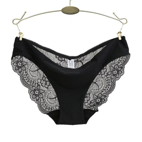 Women Panties Transparent Full Lace Low-waist Briefs Polyester Solid Underwear