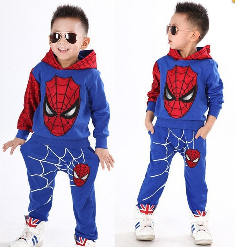 New Baby Boys Spring Autumn Spiderman Sports suit 2 pieces set Tracksuits Kids Clothing sets 100-150cm Casual clothes Coat+Pant - Meyar