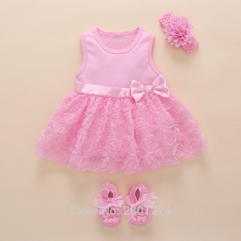 be6d5d5568cc8 New Born Baby Girls Infant Dress&clothes Summer Kids Party Birthday Outfits  1-2years Shoes Set Christening Gown Baby Jurk Zomer