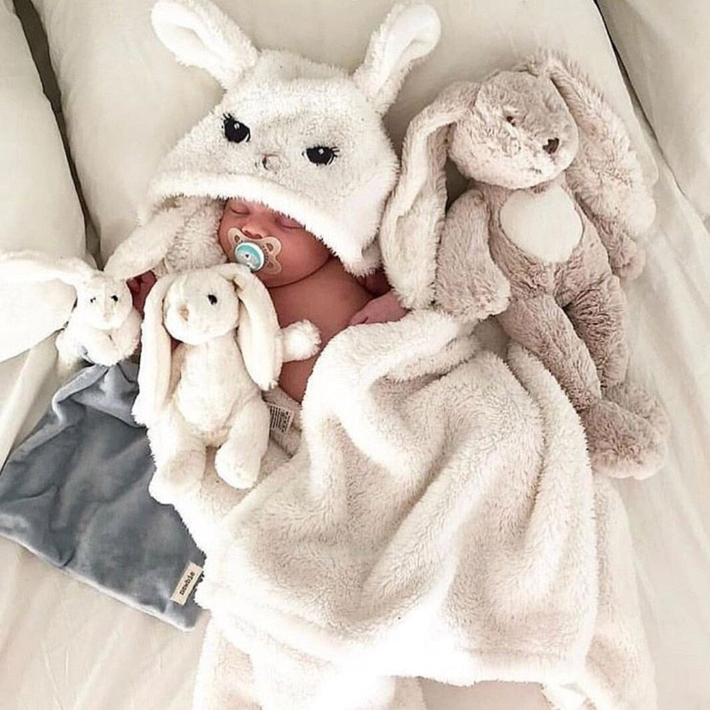Newborn Baby Boy Girl Cute Cartoon Plush Receiving Blanket Sleeping Wrap Swaddle foulard for new born baby bath towel serviette - Meyar