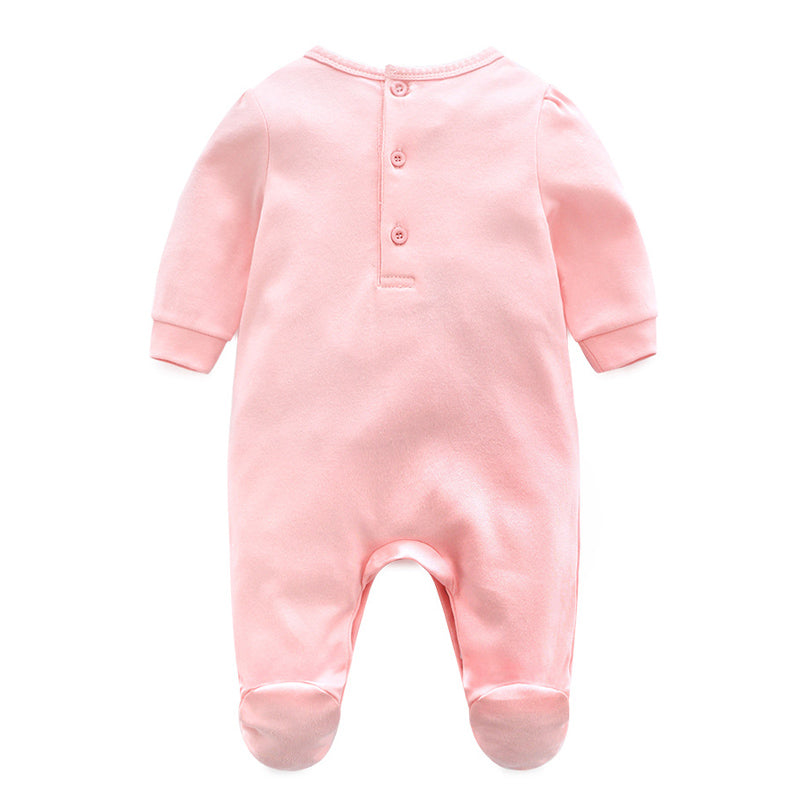 Newborn Baby Girl Cotton Lace Footies 1piece Overall with Hair Band 2018 New Spring Pink Infant Girl Clothes Born 3m 6m 1t Gift - Meyar