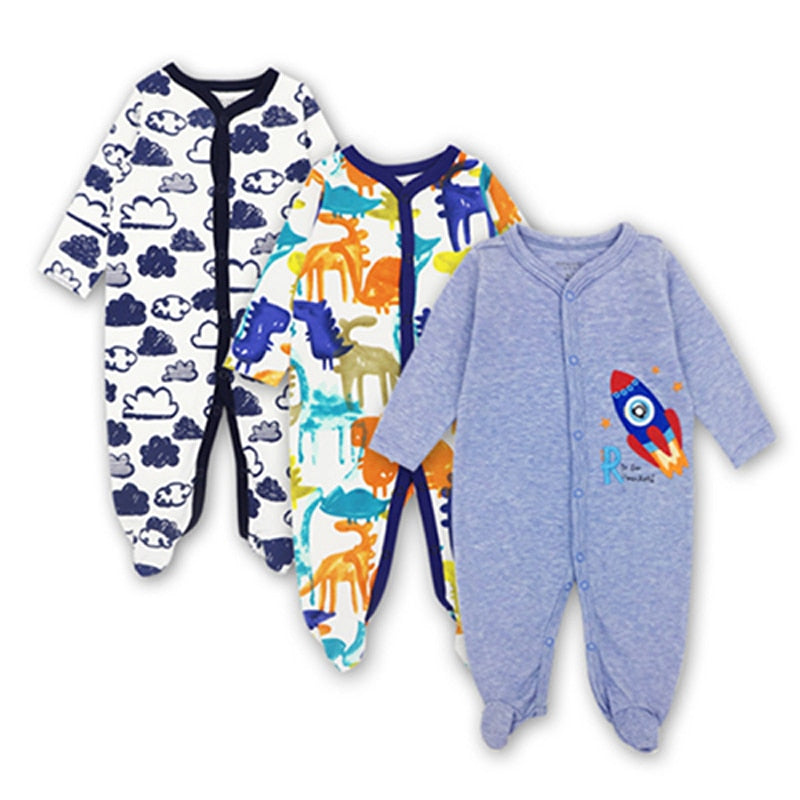 Newborn Toddler Infant New born Baby Girl Boy Jumpsuit Long sleeve Cotton 3 pieces 0-12 Months Cartoon Printed Clothes - Meyar