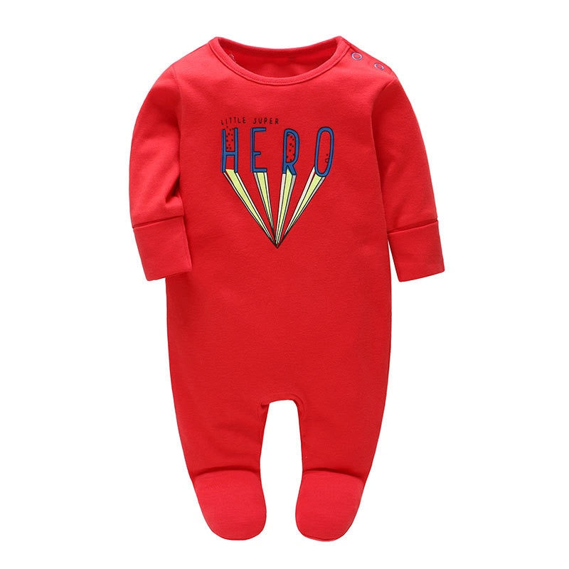 Picturesque Childhood 2018 lucky child New Baby new born Clothes Baby Cotton Long Sleeved Uniforms Red Letter Print Footies - Meyar