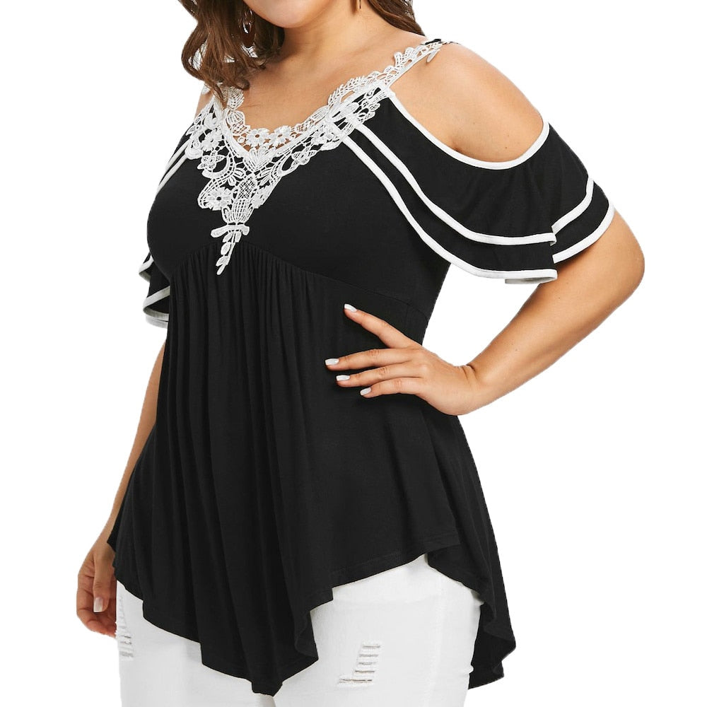 Plus Size 5XL Summer Womens Tops and Blouses 2018 Streetwear Lace Cold Shoulder Tee Shirts Tunic Ladies Top for Womens Clothing - Meyar