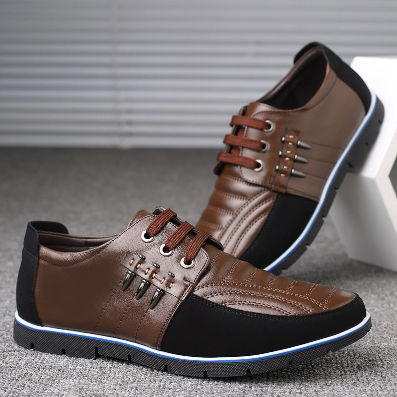 QWEDF Men genuine leather shoes High Quality Elastic band Fashion design Solid Tenacity Comfortable Men's shoes big sizes ZY-251 - Meyar