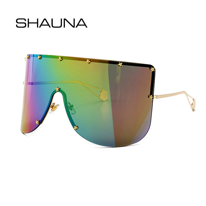 SHAUNA Oversize One Piece Cover men sunglasses steampunk Women Five-Points Star glasses punk Champagne  Windproof Shades Men - Meyar