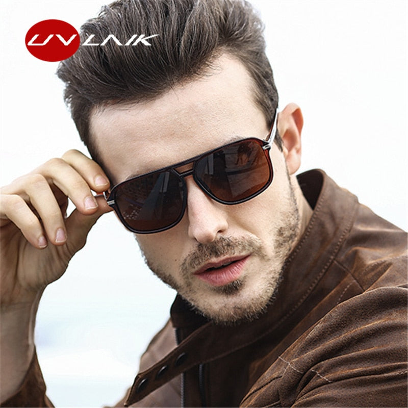 UVLAIK Oversized Sunglasses Men Polarized Mirror Goggles Driving Sun Glasses Man Brand Designer Retro HD Driver Sunglass - Meyar