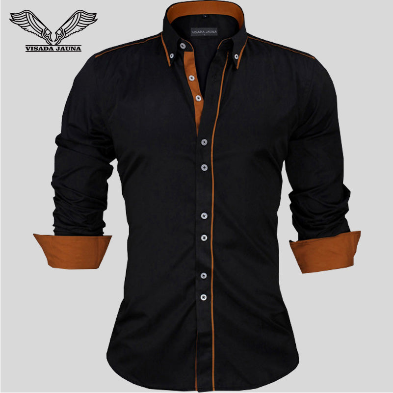 VISADA JAUNA Men Shirts Europe Size Solid Long Sleeve British Style Cotton Men's Shirt N332 - Meyar
