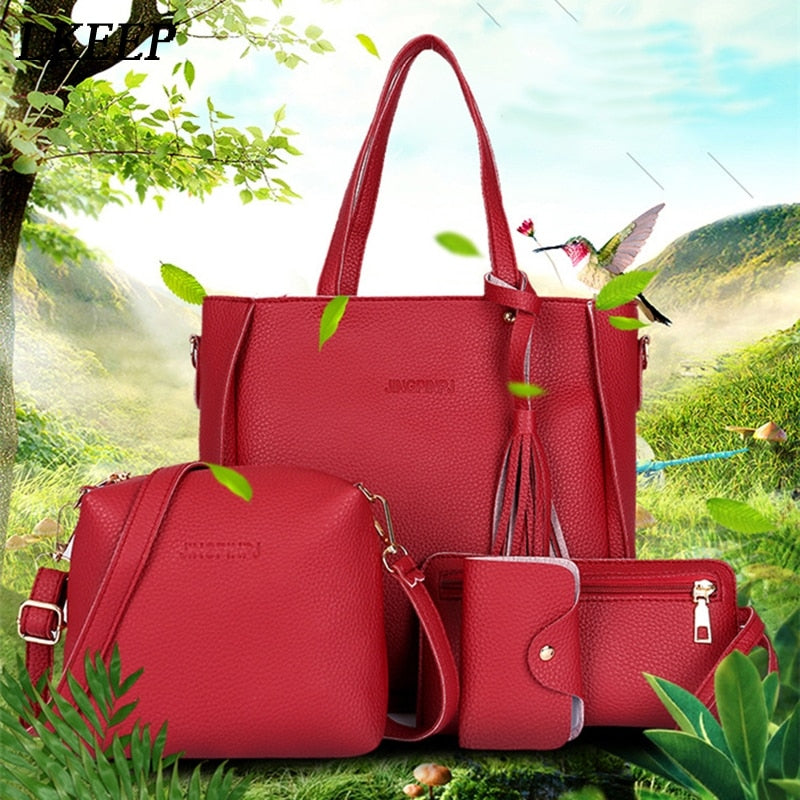 Copy of Copy of Women Bag Set Top-Handle Big Capacity Female Tassel Handbag Fashion Shoulder Bag Purse Ladies PU Leather Crossbody Bag - Meyar