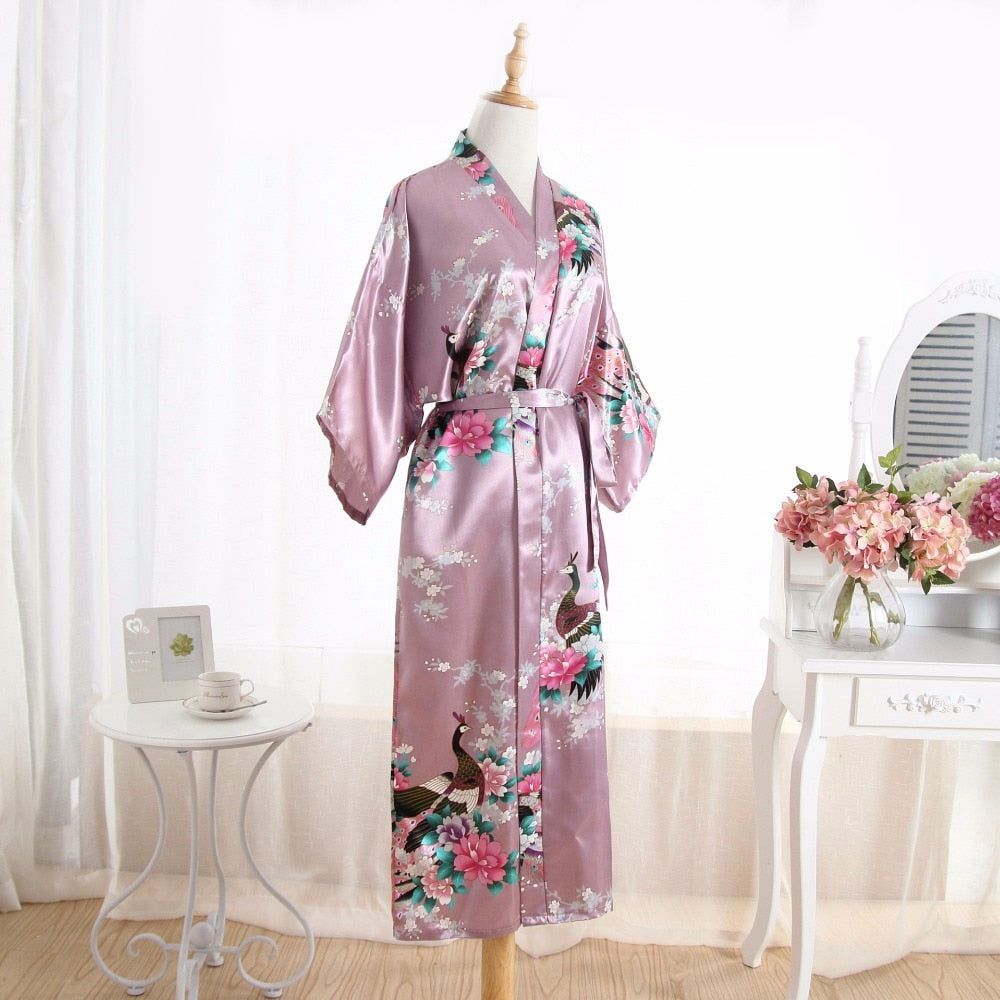 Women Silk Satin Long Wedding Bride Bridesmaid Robe Floral Kimono Robe Feminino Bath Robe Big Size Peignoir Femme Sexy Bathrobe - Meyar