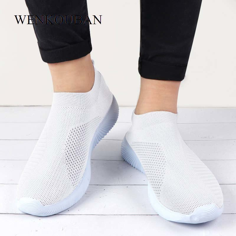 Women Sneakers Female Knitted Vulcanized Shoes Casual Slip On Ladies Flat Shoe Mesh Trainers Soft Walking Footwear Zapatos Mujer - Meyar