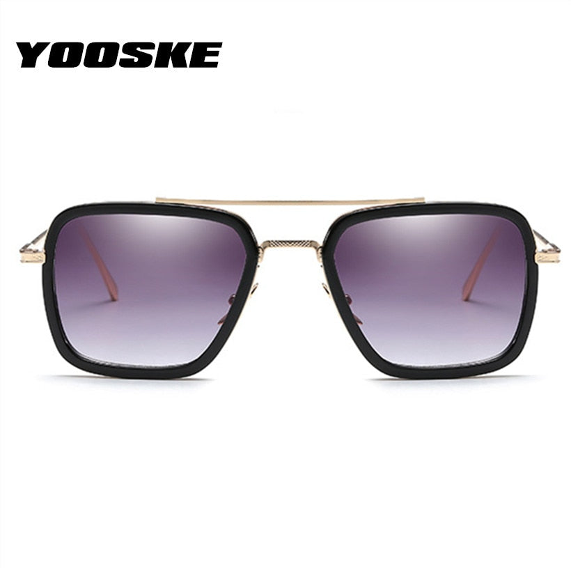 YOOSKE Vintage Steampunk Sunglasses Men Sun Glasses Male Tony Stark Iron Man Goggles UV400 - Meyar