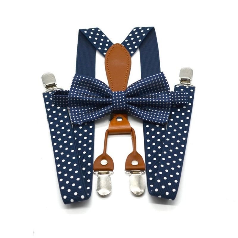 Yienws Polka Dot Bow Tie Suspenders for Men Women 4 Clip Leather Suspensorio Adult Bowtie Braces for Trousers Navy Red YiA119 - Meyar
