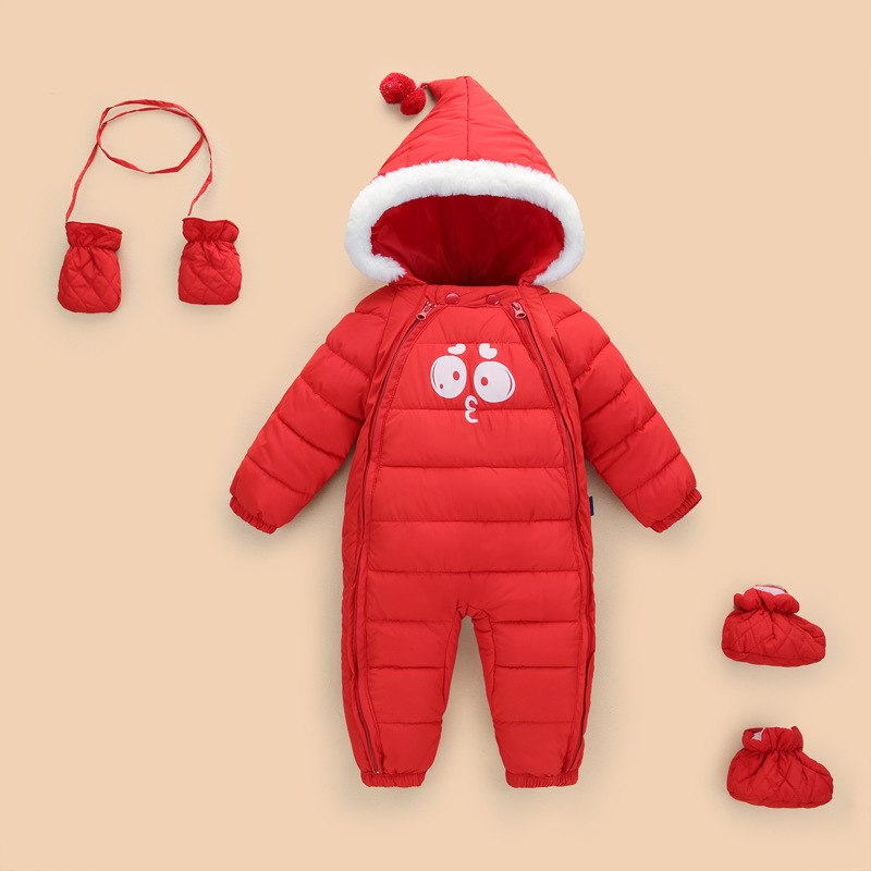 new born Kids Down Cotton Jumpsuit Newborn Winter Thick Boys Overalls Baby girl onesie clothes Snowsuit Infant Jacket Footies - Meyar