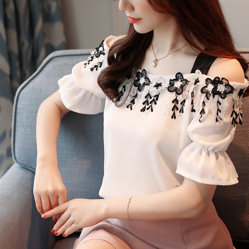 new summer sweet pink chiffon women blouse shirt fashion 2019 short sleeve women tops slash neck women's clothing blusas D836 30 - Meyar