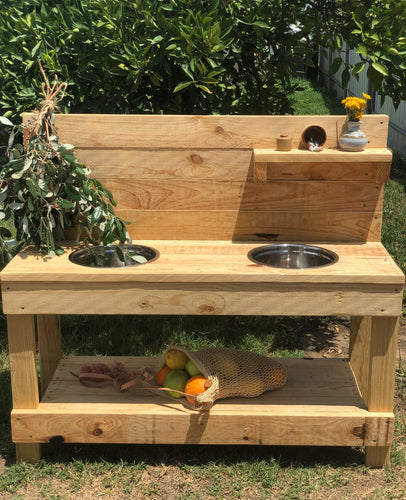 Little Hipster Kitchens Milla + Arlo Mud Kitchen Sanded + Oiled (in pic )
