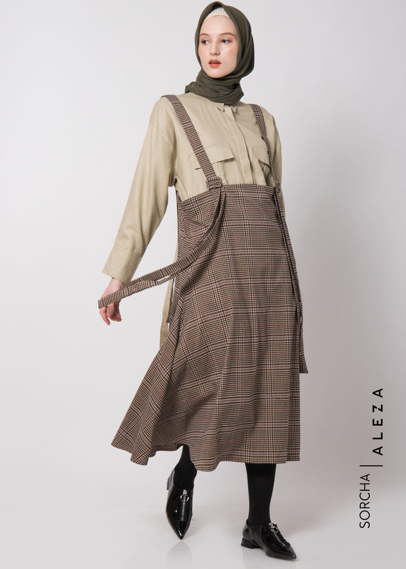 Sandaya Pinafore Dress Brown
