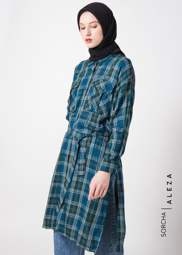 Sazara Tunic Checked Green