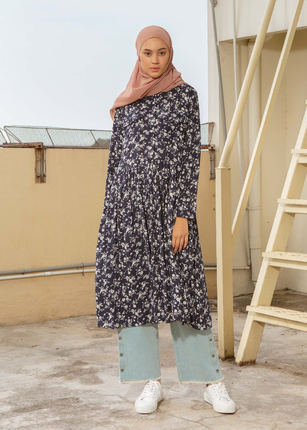 Rizu Flower Tunic Navy