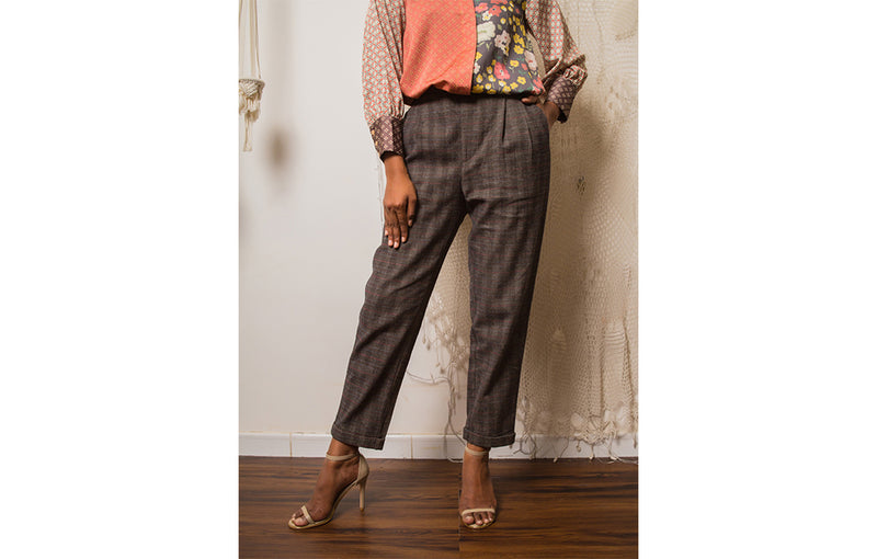 Galea Pants Checked Charcoal
