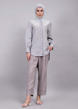 Dima Detachable Collar Shirt Gray