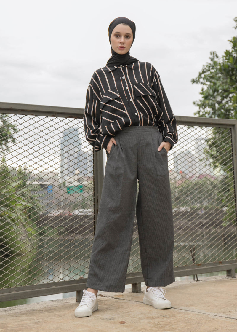 Gika Pants Herringbone Gray