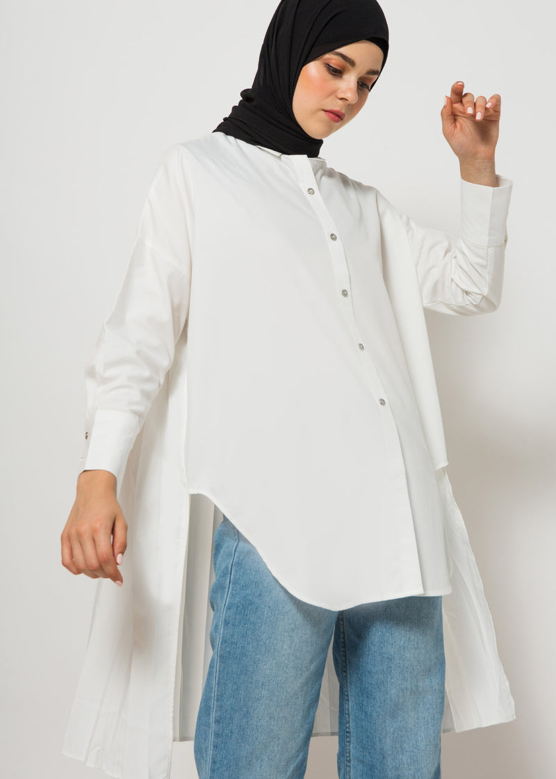 Agnia Pleats Shirt White