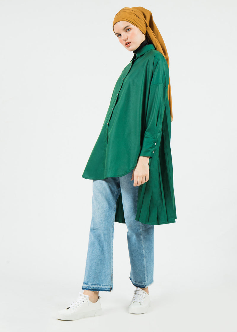Agnia Pleats Shirt Green