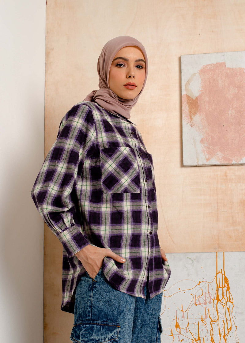 Moza Check Shirt  Purple