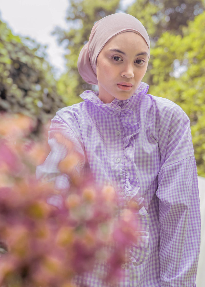 Tian Shirt Gingham Purple