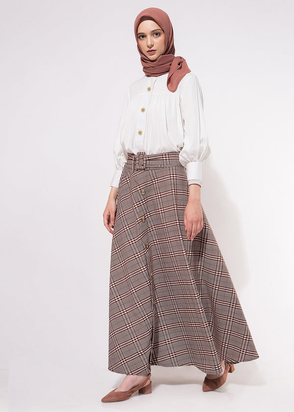 Rava Skirt Checked Brown