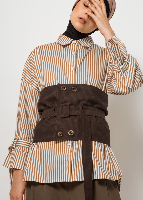 Kanza Shirt Set Brown