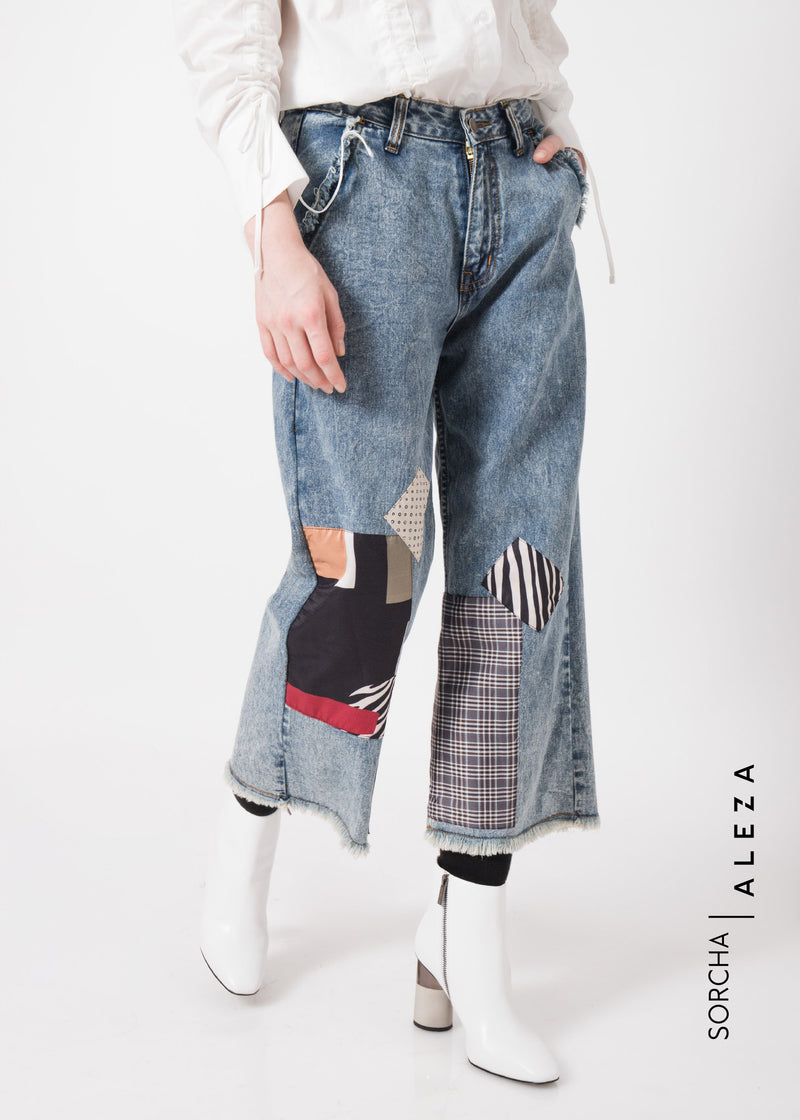 Senzy Patchwork Denim Blue